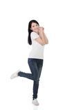 Cheerful Asian woman stock images