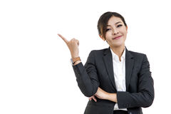 Cheerful Asian woman thinking and looking up with high aspiratio Stock Image