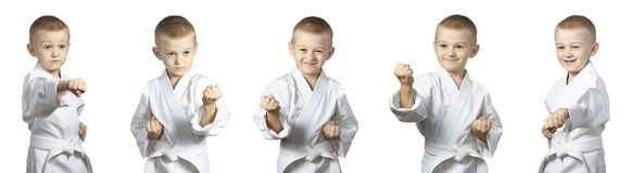 Cheerful athlete is standing in the rack karate collage Royalty Free Stock Photography
