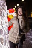 Cheerful attractive brunette royalty free stock images