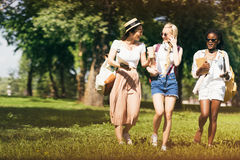 Attractive multiethnic girls in sunglasses holding textbooks while walking in park Stock Photos