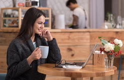 Cheerful attractive woman using her laptop in a coffee shop. Stock Images