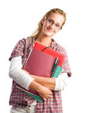 Cheerful attractive young student woman. Royalty Free Stock Photos