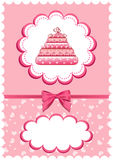 Cheerful babies card with cake. Royalty Free Stock Photo