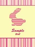 Cheerful babies card. Striped rabbit. Stock Photo