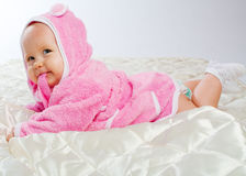 Cheerful baby on blanket Royalty Free Stock Image