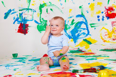 Cheerful baby boy Royalty Free Stock Image