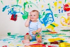 Cheerful baby boy royalty free stock image