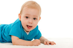 Cheerful baby boy on the blanket Royalty Free Stock Image