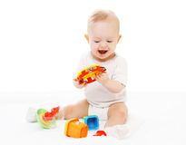 Cheerful baby in diapers playing Stock Photography