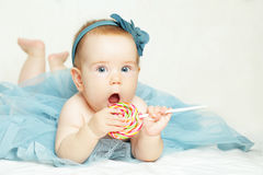 Cheerful baby girl, birthday card Royalty Free Stock Photography