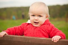 Cheerful baby holding wood fence Stock Images