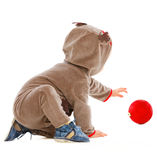 Cheerful baby playing with Christmas ball Royalty Free Stock Image