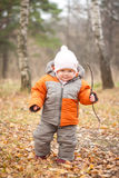 Cheerful baby walking in forest with branch Stock Photos