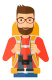 Cheerful backpacker with binoculars Royalty Free Stock Photo
