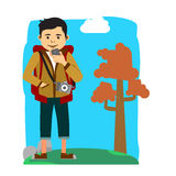Cheerful backpacker with camera and mobile phone vector illustration