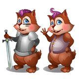 Cheerful badger in simple clothes and knight armor with sword. Cartoon animals character for animation, childrens illustrations, book and other design needs vector illustration