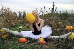 Cheerful ballerina on a pumpkin field Stock Photos