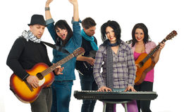 Cheerful band of five people stock photos