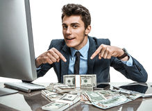 Cheerful banker showing his dividend earnings, profit, income, gain, benefit, margin Royalty Free Stock Images
