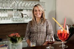 Cheerful bartender Stock Images