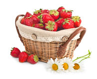 Cheerful basket full with fresh strawberries Stock Photos