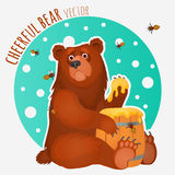 Cheerful bear with bees and honey Stock Photography