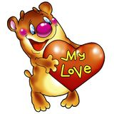 Cheerful bear with heart. Royalty Free Stock Photo