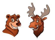 Cheerful bear and moose Stock Image