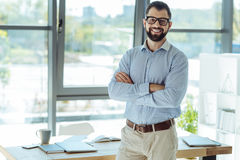 Cheerful bearded man posing in his new office Royalty Free Stock Photos