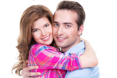 Cheerful beautiful couple in embrace. Royalty Free Stock Image