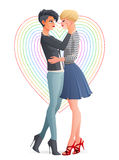 Cheerful beautiful gay lesbian homosexual couple. Vector illustration. Cheerful beautiful gay lesbian homosexual hugging couple in love. Cartoon vector Royalty Free Stock Photo