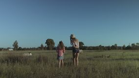 Happy family walking in summer field in countryside. Cheerful beautiful mother and adorable girl walking in summer field at sunset and collecting wild flowers stock video footage