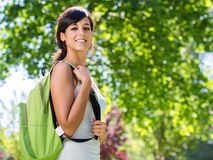Cheerful beautiful student outside Stock Image