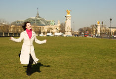 Cheerful beautiful woman in Paris Royalty Free Stock Images