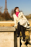 Cheerful beautiful woman in Paris Stock Images