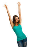 Cheerful beautiful woman raised hands up happy Stock Photography