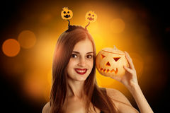 Cheerful beauty woman in halloween style clothes Stock Images