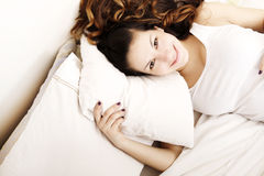 Cheerful on the Bed Royalty Free Stock Images
