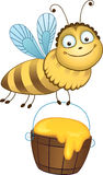Cheerful bee carries a bucket of honey Stock Images