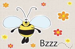 Cheerful bee on knitted background. eps 10 Stock Image