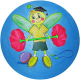 Cheerful bee promoting a healthy lifestyle - Drawing Royalty Free Stock Photos