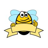 Cheerful bee with thumb up vector illustration