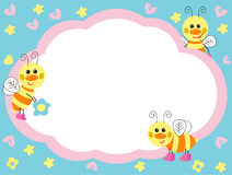 Cheerful bees. The lovely card with amusing bees. illustration royalty free illustration