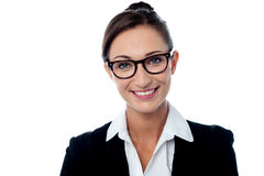 Cheerful bespectacled corporate woman Royalty Free Stock Photos