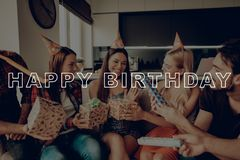 Cheerful Best Friend Forever. Celebration Happy Birthday. Guest Smiling. Birthday Girl in Birthday Hat. Party Lively Conversation stock photos