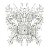 Cheerful bird coloring page Royalty Free Stock Image