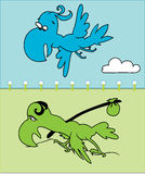 Cheerful bird and tired bird Stock Images