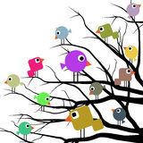 Cheerful birds. Illustration of a flock of birds in a variety of cheerful colors Stock Photography