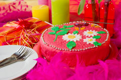 Cheerful birthday cake in still life Royalty Free Stock Photos